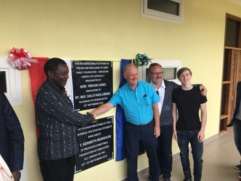 Trevor Jones, son Dean and grandson Cole representing the family at the official opening of a women's residence in Tanzania, East Africa in September 2019
